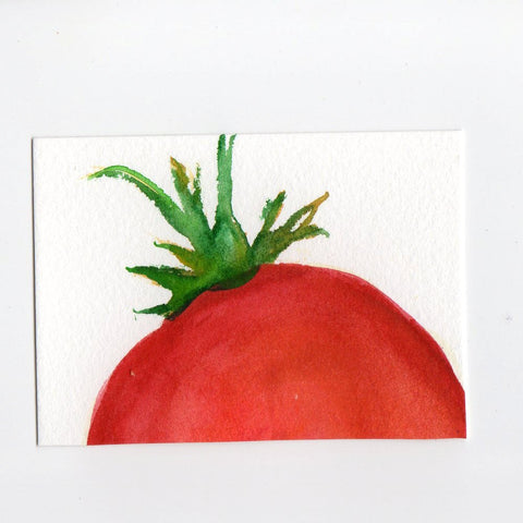 ACEO Original  Tomato Watercolor Painting Original Art Card, small tomato, SharonFosterArt