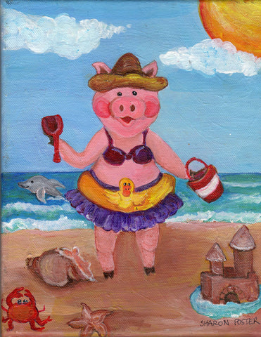 acrylic painting canvas art, Pig Girl at  Beach Painting  8 x 10 original acrylic on canvas, small pig art, pig in swim suit SharonFosterArt