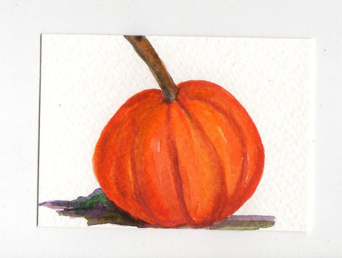 Pumpkin ACEO Original Card, Watercolor Painting, ACEO Art, Small Vegetable, pumpkin art, small kitchen wall decor, miniature painting
