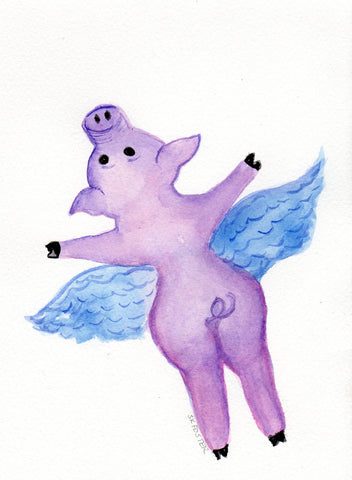 Purple Flying Pig original watercolor painting, 5 x 7 small flying pig artwork, pig with wings, funny flying pig art, animal watercolors
