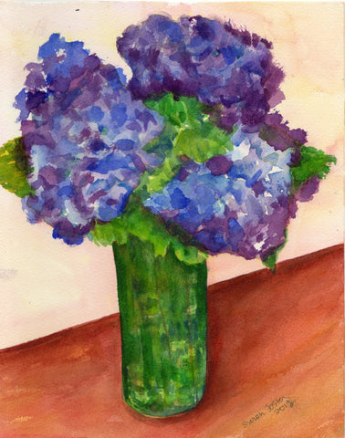 Blue Hydrangeas watercolor painting original 8 x10 watercolor, flower painting, floral art, floral painting, original hydrangea wall art