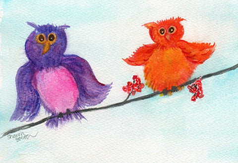 Owls watercolor painting, purple owl, orange owl 5 x 7 whimsical owls Artwork Original, bird watercolors painting bird art, animal art