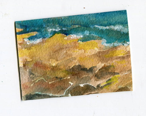 ACEO Original Rocky Seascape Watercolor Painting, SharonFosterArt