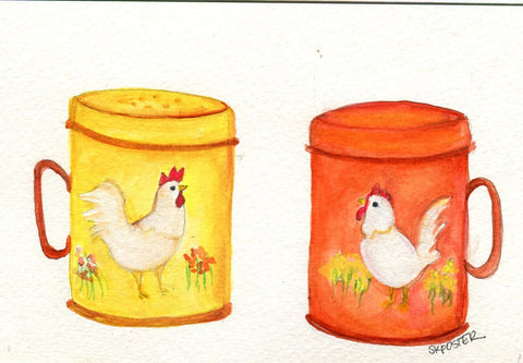 Watercolor painting kitchen, salt & pepper shakers, chickens, hen, rooster painting on vintage tins, culinary watercolor, Farmhouse decor