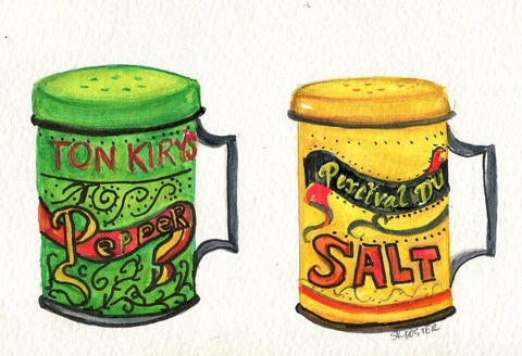 Watercolor painting original, Salt & Pepper vintage tins culinary painting, culinary watercolor  5 x 7  kitchen decor, salt pepper shakers