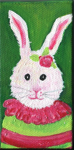 Bunny rabbit painting, acrylic animal art canvas,  easel, mini canvas art, nursery art SharonFosterArtSharonFosterArt