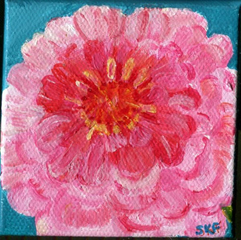 Pink Zinnia mini painting on mini canvas,Easel, 3 x  3 , small flower acrylic painting, acrylics paintings on small canvas, little canvas