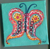 Paisley Butterfly painting mini Canvas, Easel, 3 x 3, miniature art, butterfly decor, small butterfly acrylic painting, mini canvas art