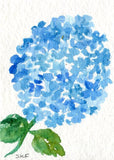 ACEO Original Blue Hydrangea Watercolor Painting Art Card, SharonFosterArt, SharonFosterArt, hydrangea art