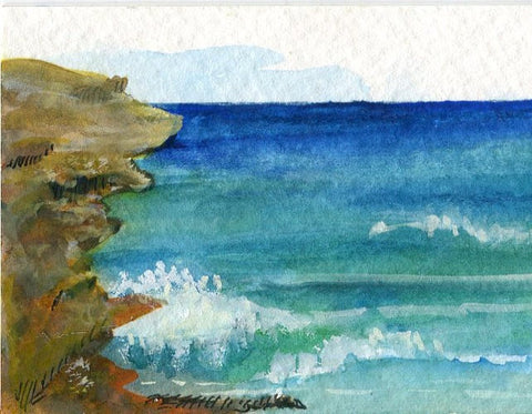 ACEO Original Aruba watercolor painting original. Ocean art card, Small beach painting, miniature watercolor painting, SharonFosterArt