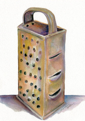Kitchen print - my Vintage Box Grater watercolor painting, kitchen decor  5 x 7 kitchen utensil,  food art, kitchen decor, kitchen wall art