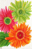 Gerbera Daisies Watercolor Painting, Original. Daisies painting, Original Watercolor Gerbera Daisy art Hot Pink, Lime Green and Orange