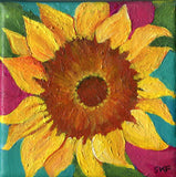 Sunflower painting, sunflower decor, sunflower canvas 4 x 4 sunflower acrylic painting canvas art, sunflower wall art, sunflower art