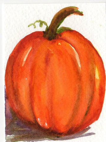 ACEO Original Pumpkin Watercolor Painting, art card, original watercolor painting of pumpkin, small pumpkin art, kitchen decor