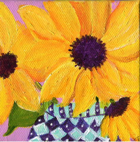 Sunflowers painting, Sunflower Art, Easel, purple, blue and white vase, Original acrylic mini canvas, SharonFosterArt