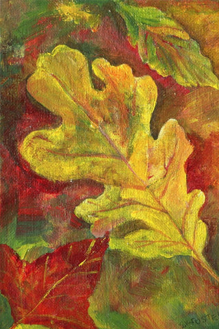 Fall Leaves acrylic painting canvas art, red, yellow autumn leaves Maple, oak leaves original acrylics on canvas panel 5 x 7 SharonFosterArt