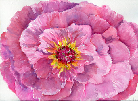 Peony painting, Peony Watercolors Paintings Original 11 x 15 Peony Wall Art, watercolor painting of big pink peony, floral art, peony decor