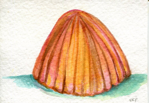 ACEO Original Sea shell watercolor painting, beach, shell painting, miniature, art cards, ocean art, seashell watercolor painting