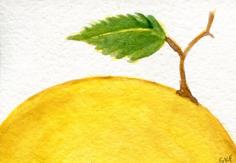 ACEO Original Lemon Watercolor Painting, art card, small watercolor painting of lemon, leaf, SharonFosterArt