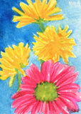ACEO Original Daisies Watercolor Painting Gerbera Daisies art card, watercolor flowers, floral painting, floral art, Gerber flower painting