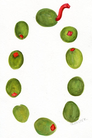 Olives watercolor painting original,  5 x 7, olive art, O is for olives  kitchen, dining, small food artwork, SharonFosterArt