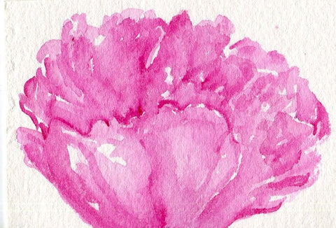 ACEO Original Peony watercolor painting art card, small  Pink Flower Painting, SharonFosterArt