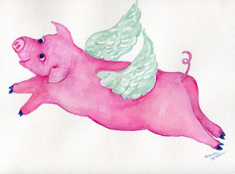 Flying Pig watercolor painting original 9 x 12 when pigs fly animal watercolors paintings, funny pig painting, pig with wings, you can do it