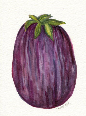 Eggplant watercolors painting original, vegetable, 5 x 7, food art, eggplant painting, kitchen wall decor, SharonFosterArt Farmhouse decor