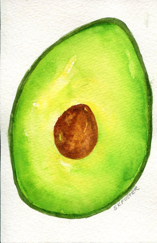 Avocado watercolor painting, 4 x 6 Original kitchen decor, art for kitchen, culinary watercolor, green wall art, SharonFosterArt