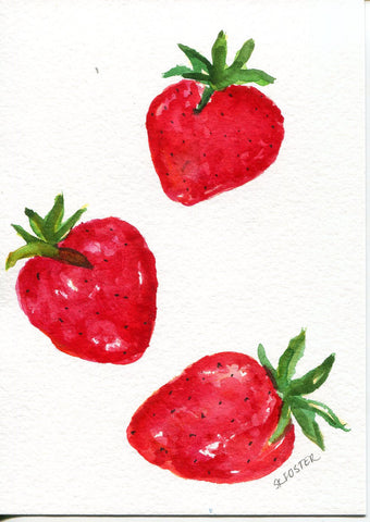 Strawberries watercolor painting, original Art, Small Fruit Artwork, Food kitchen decor,  5 x 7, culinary watercolors paintings