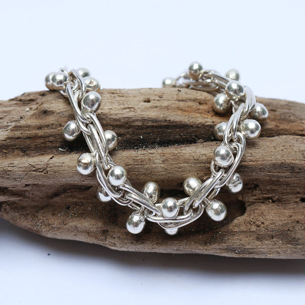 Agung Silver Bracelet handmade in Bali from Potch