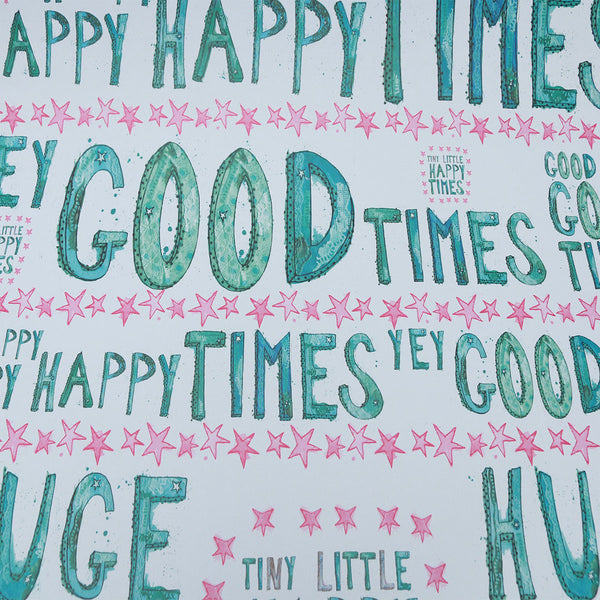 Wrapping Paper 100% Recycled (3x Sheets) : Good Times | Potch | Ethical, Fairtrade or Local