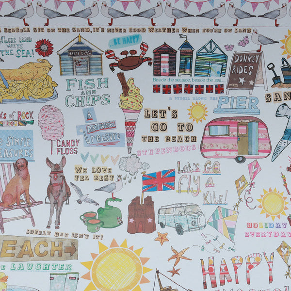 Wrapping Paper 100% Recycled (3x Sheets) : Summer Holidays | Potch | Ethical, Fairtrade or Local