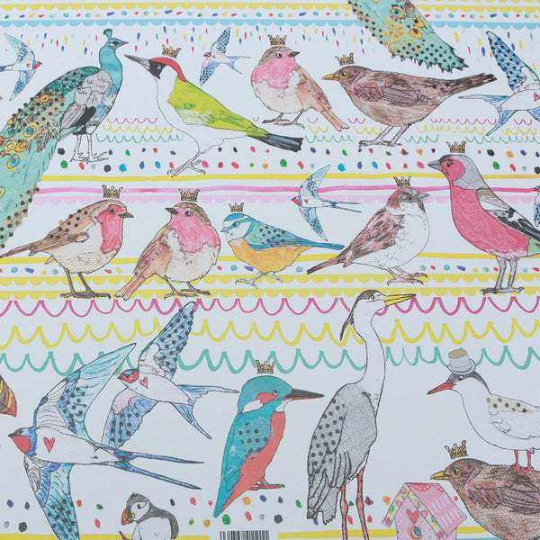 Wrapping Paper 100% Recycled (3x Sheets) : Birds | Potch | Ethical, Fairtrade or Local