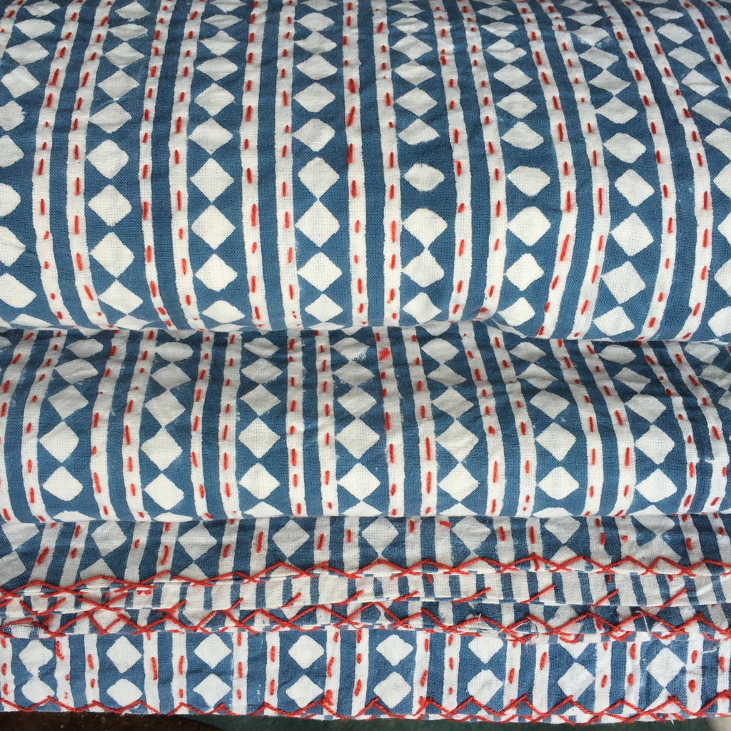 Hand Block Printed Kantha Quilts in Pale Blue and White with Red stitch from Potch