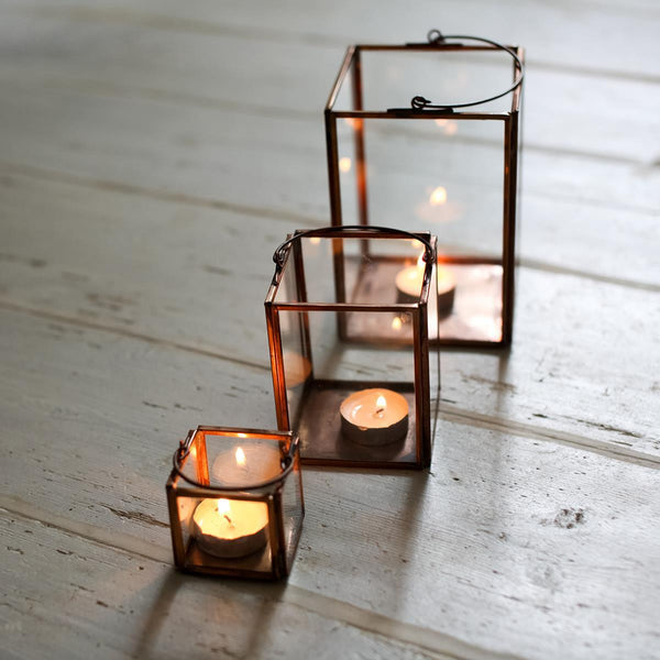 Small copper and glass t-light holder from Potch