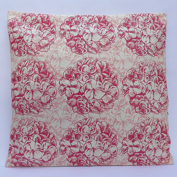 Block Printed Cushion Cover : Double Geranium : Red | potch | ethical, fairtrade or local