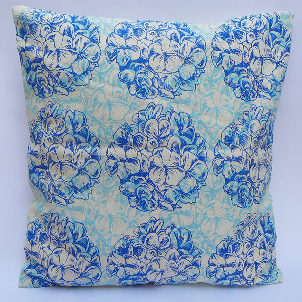Block Printed Cushion Cover : Double Geranium : Blue | potch | ethical, fairtrade or local