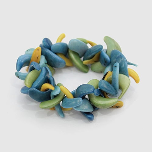 Anillo Tagua Bracelet in Blue,Green and Yellow from Potch