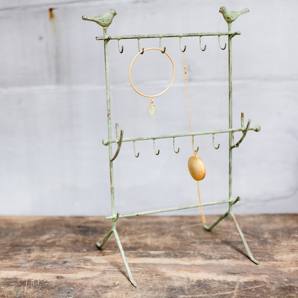 Aruna Jewellery Stand in Green/Copper with Bird motifs from Potch