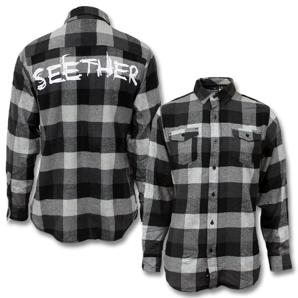 Seether Logo Flannel Shirt - Black & White