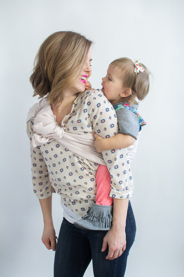 linen ring sling, light pink baby carrier