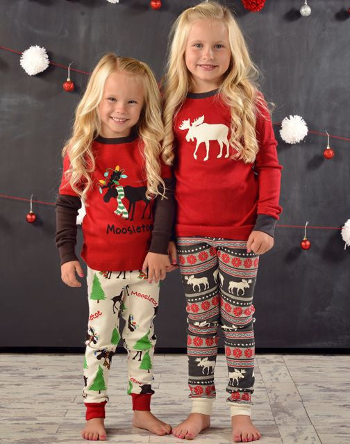 5cc672c328a8 Moose Fair Isle Family Christmas Pajamas Kids – Boogerbear ...