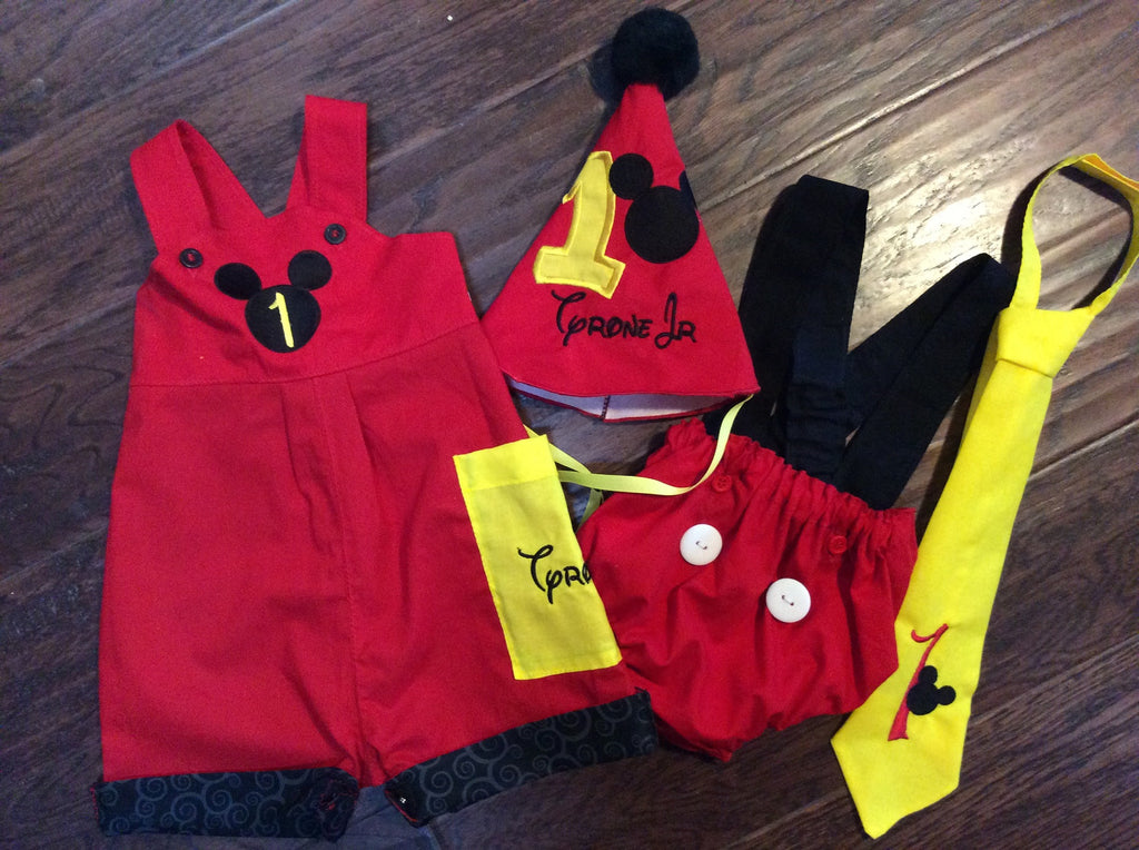 Mickey Mouse 1st Birthday Smash Cake Outfit And Shortalls