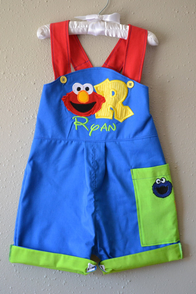 3361e76cb Boys First Birthday outfit Sesame Street Elmo shortalls or Longalls jon jon