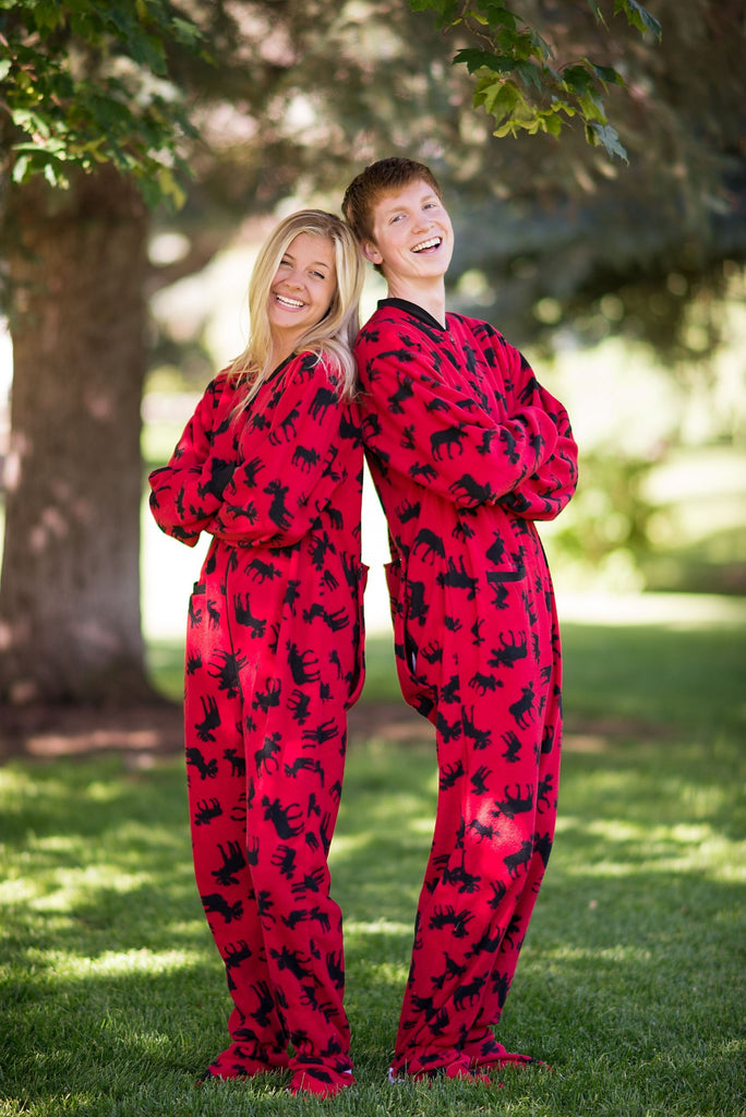 family christmas pajamas adult footie onesie red classic moose