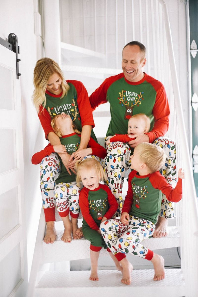 Family Christmas Pajamas With Dog.Lights Out Family Christmas Pajamas Dog Pj S