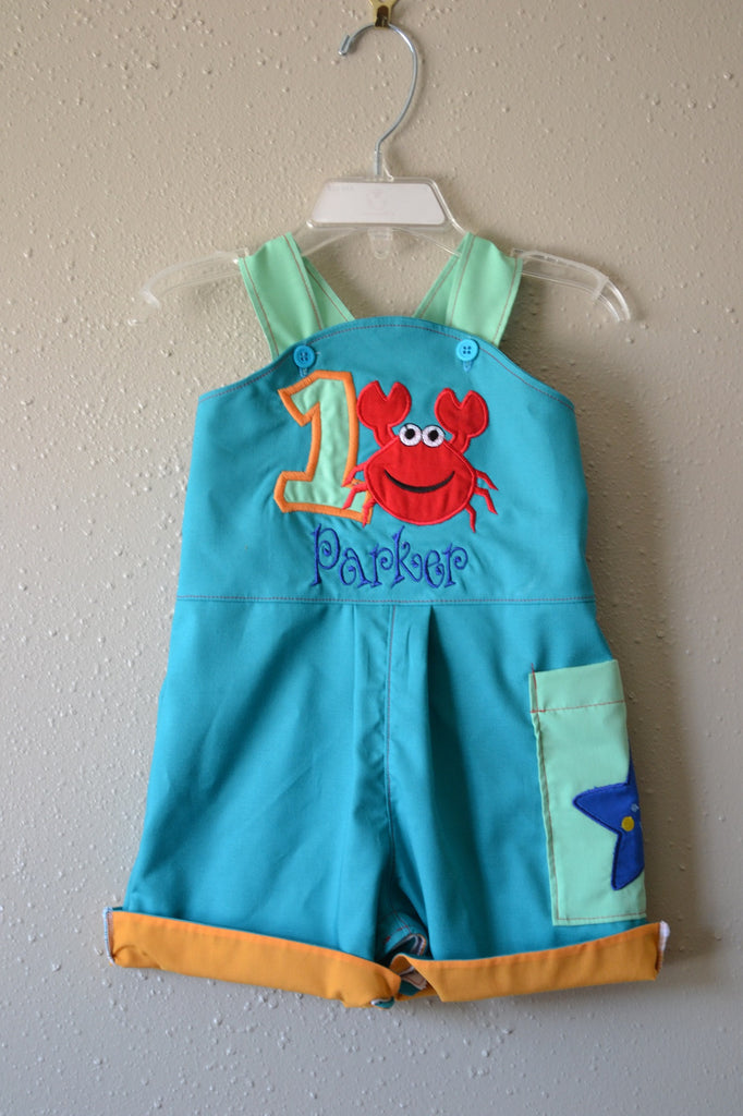 Boys 1st Birthday Under The Sea Smash Cake Outfit Shortalls Or Longalls