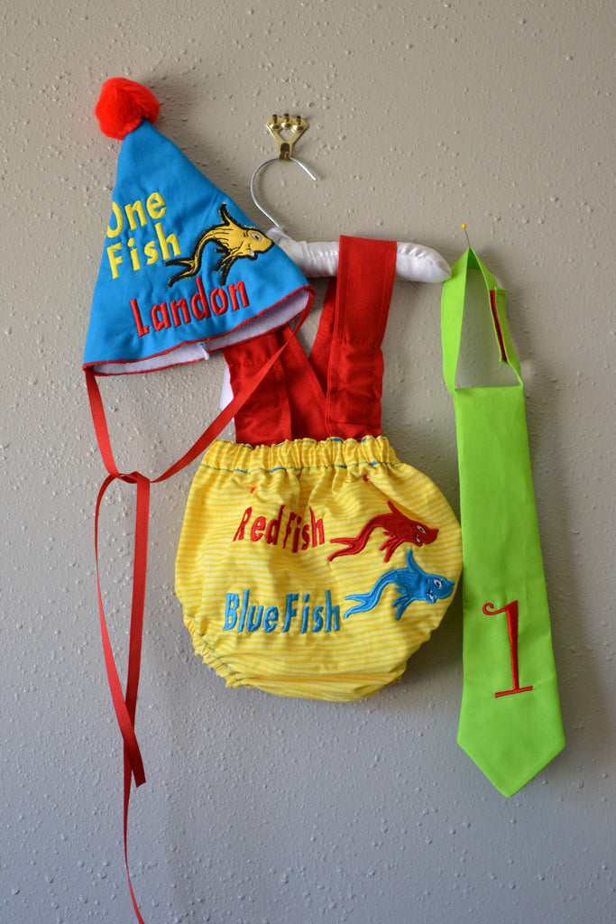 Enjoyable Boys Dr Seuss One Fish Two Fish 1St Birthday Smash Cake Outfit Funny Birthday Cards Online Alyptdamsfinfo