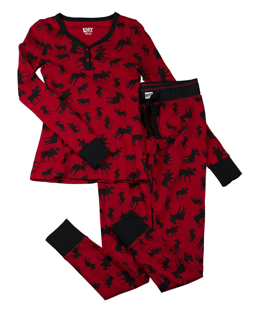 3df6d148bb Family Christmas Pajamas Adult Womens Fitted Red Classic Moose Pajamas